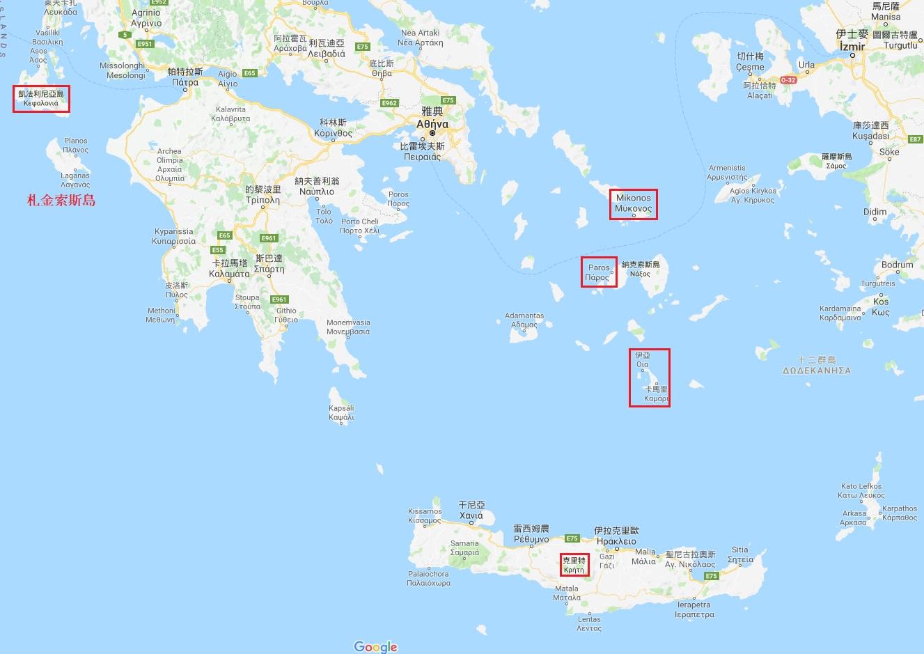 希臘小島地圖