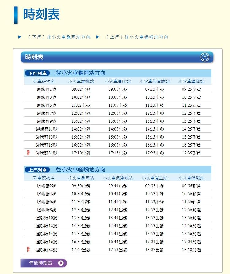 嵐山小火車時刻表